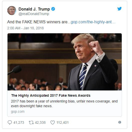 Donald Trump Unveils His 2017 Fake News Awards Winners - Brand Spur
