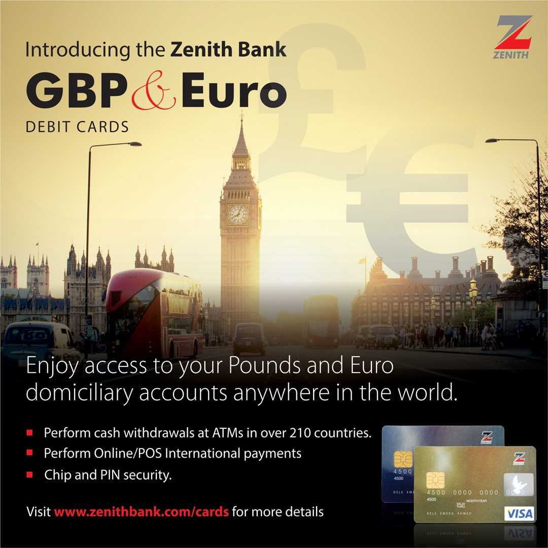 Zenith Bank Introduces Pounds Sterling and Euro Visa Debit Cards - Brand Spur