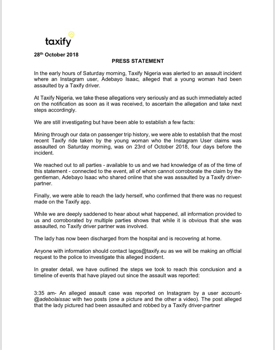 Taxify Issues Statement About Reported Robbery Incident Involving Its Employee & Lady In Lagos