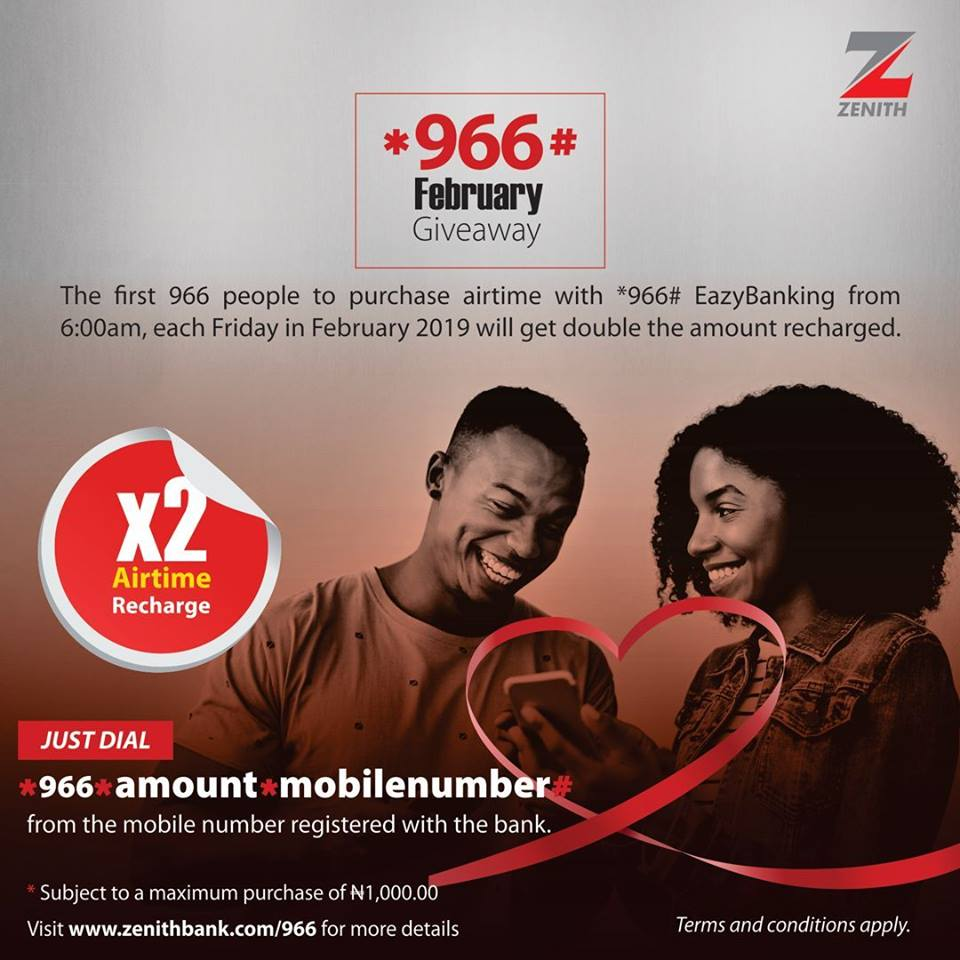 #EazyBanking: Zenith Bank Airtime Giveaway in February, 2019