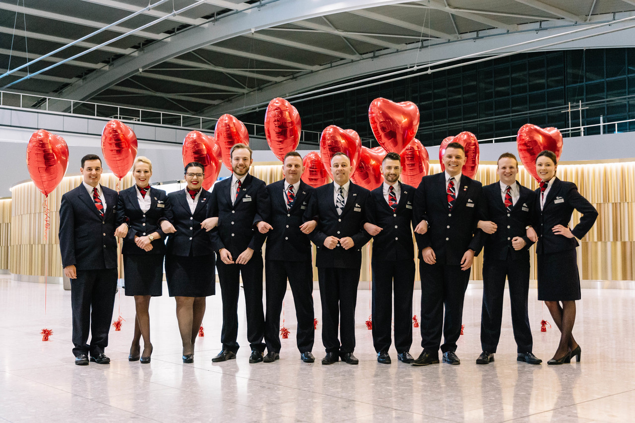 British Airways' Valentine's flight takes off