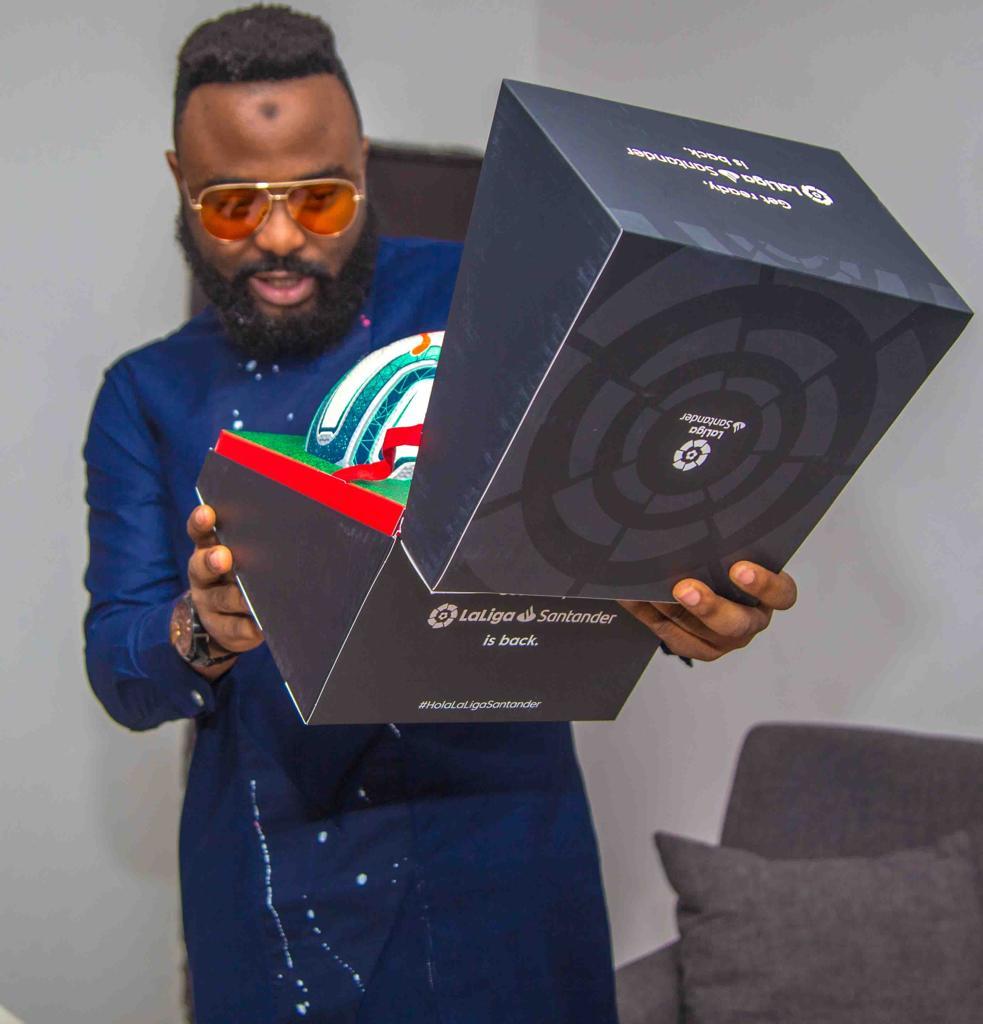 Peter Okoye (Mr P), VJ Adams 'Unboxes' New LaLiga Ball as the 2019/2020 Season Kicks-Off (Photos) - Brand Spur