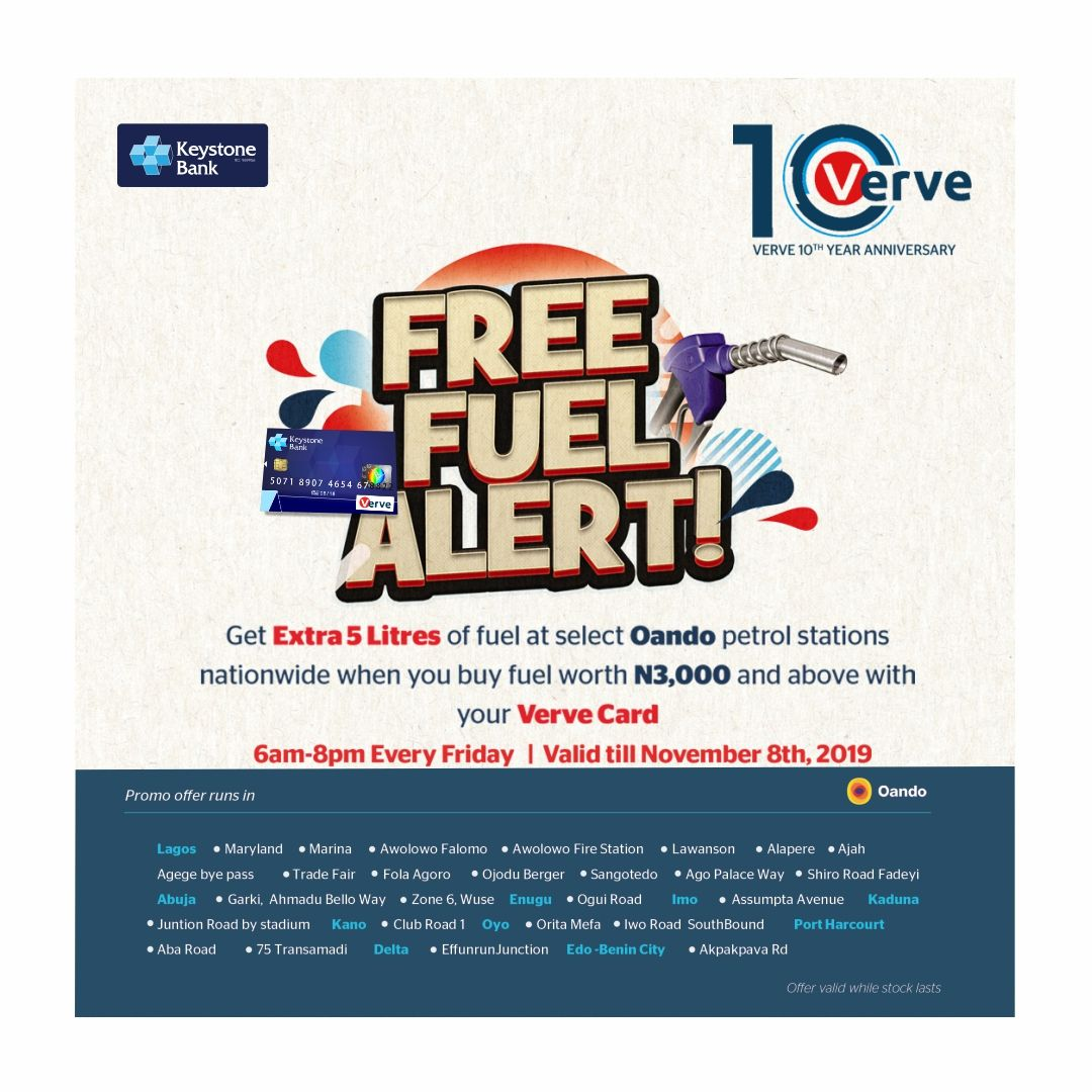 Keystone Bank Rewards Its Verve Card Holders With Free Petrol - Brand Spur