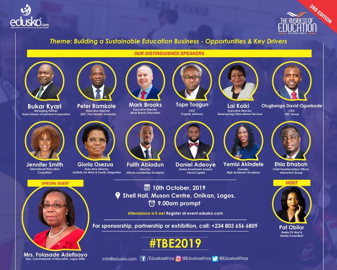 Folasade Adefisayo, Bukar Kyari, Bunmi Lawson, Others to Speak at Edusko's Business of Education Summit in Lagos