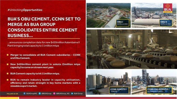 BUA's Obu Cement, CCNN set to merge as Group consolidates entire Cement business - Brand Spur