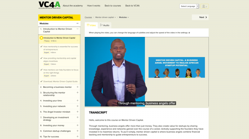 Venture Capital For Africa Launches First Dedicated Online Training Program For Africa's Business Angels: 'Mentor-Driven Capital'