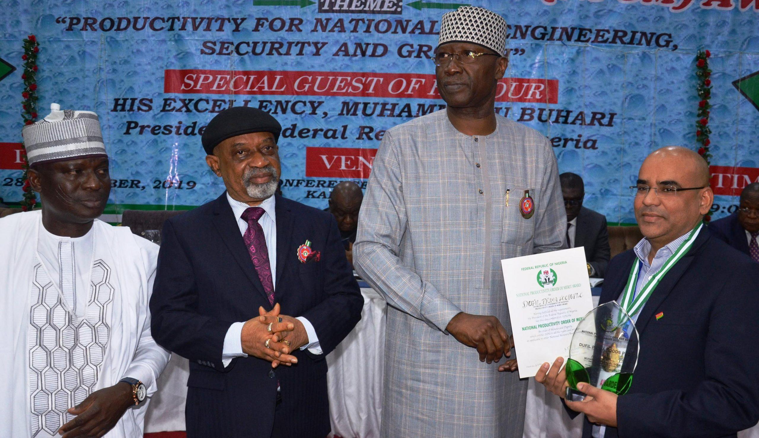 Dufil Prima Foods Plc Bags National Productivity Award