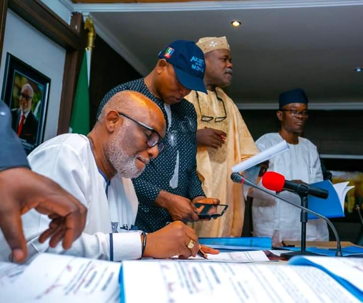Akeredolu signs N187billion 2020 budget into law - Brand Spur