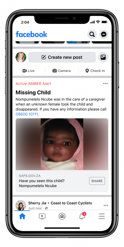 Facebook brings Amber Alerts to South Africa in a first for the continent - Brand Spur