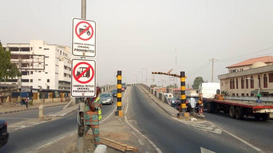LASG installs 2,000 Okada, Tricycle Restriction Signs on Major Highways, Bridges