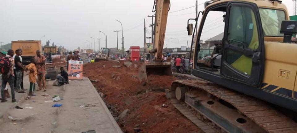 LSPWC begins rehabilitation work on LASU-Iba road intersection with Lagos Badagry Expressway (Photos)