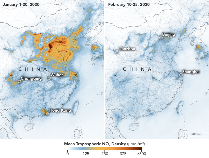 NASA Images show 'Significant Decreases' in Air Pollution Over China Amid Coronavirus Economic Slowdown (Photos) - Brand Spur