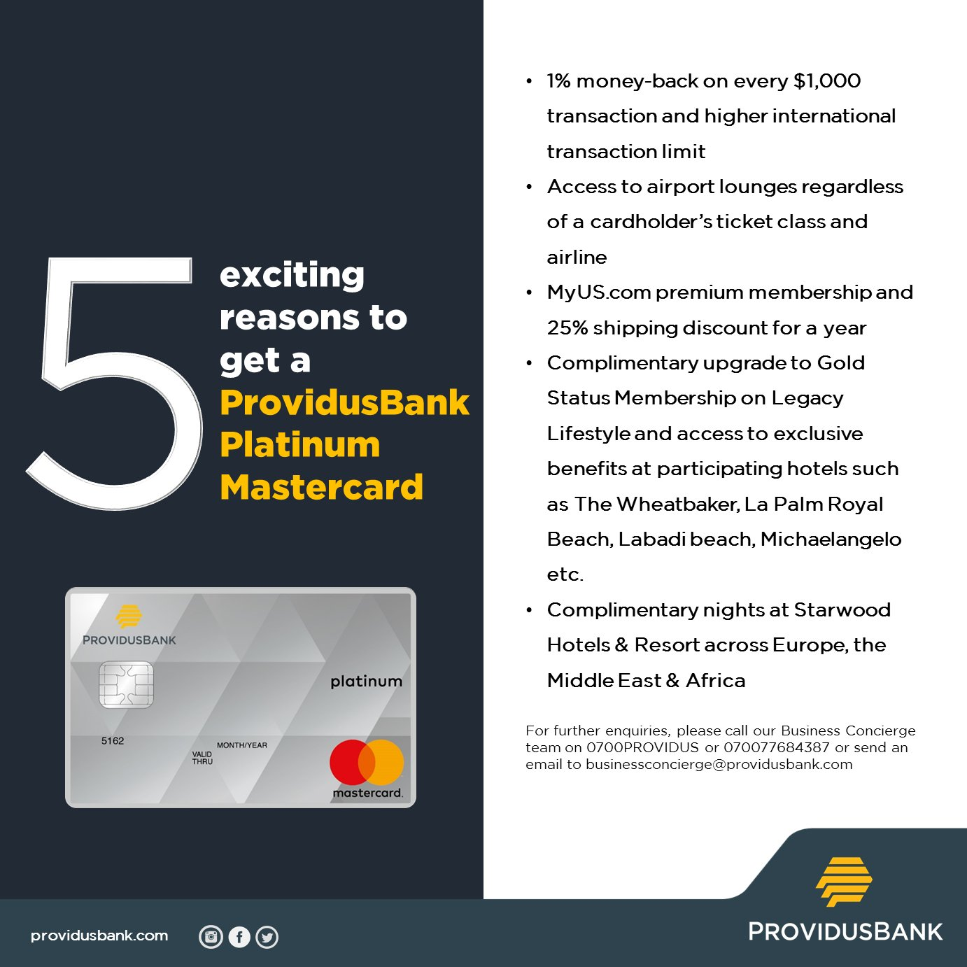 5 EXCITING REASONS TO GET A PROVIDUS BANK PLATINUM MASTERCARD