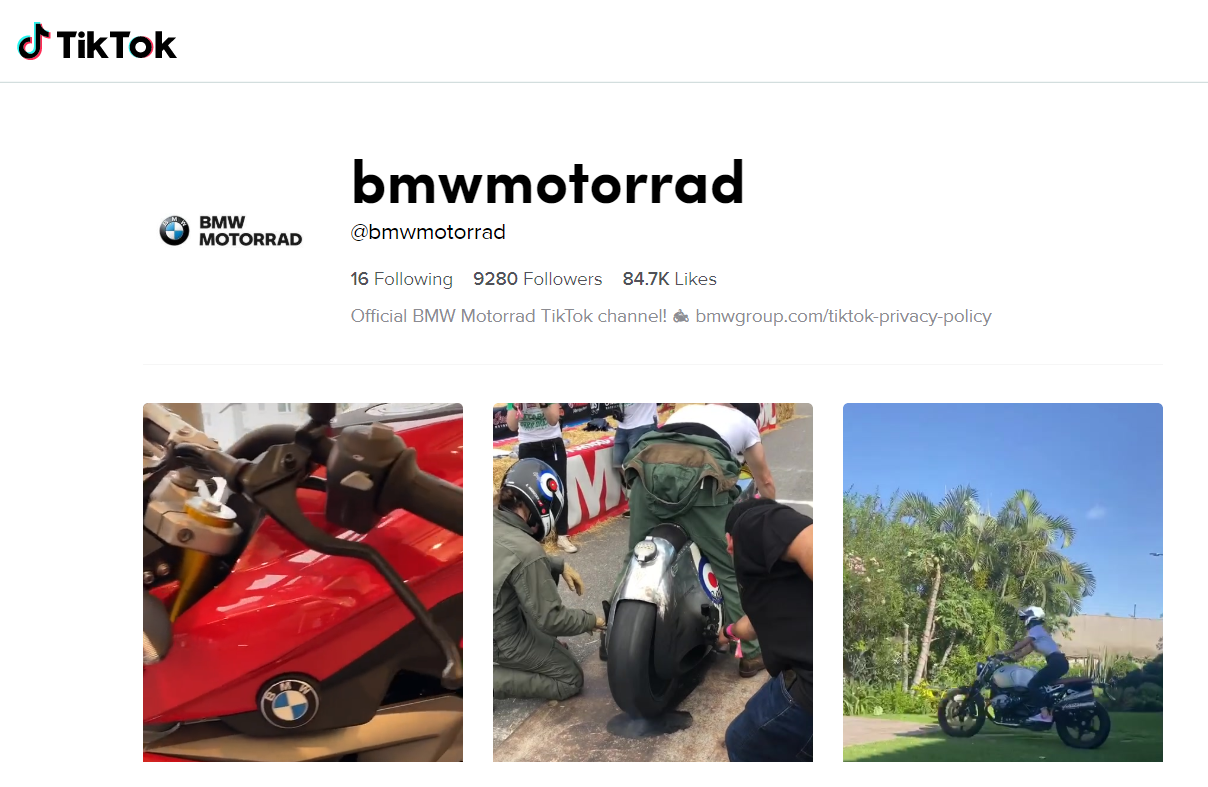 BMW Motorrad goes TikTok - Brand Spur