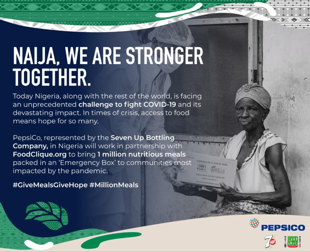 PepsiCo Pledges 1 Million GiveMealsGiveHope initiative to fight COVID-19 in Nigeria - Brand Spur