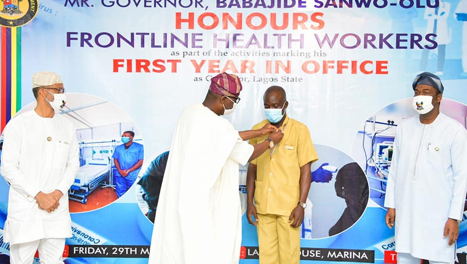 Sanwo-Olu Dedicates First Anniversary to Frontline Health Workers, Honours Medical Personnel