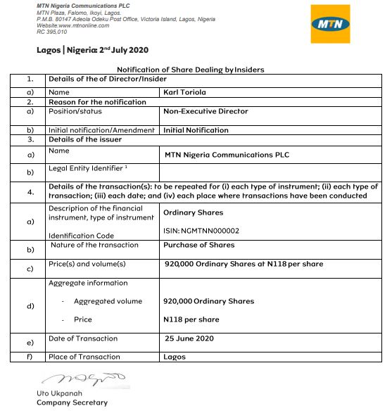 Insider Dealing: MTN Nigeria Discloses Purchase of 920,000 Shares by Toriola - Brand Spur