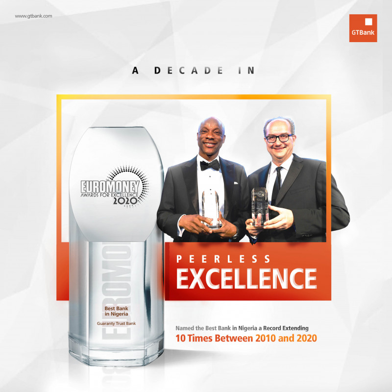 A Decade in Peerless Excellence - GTBank is Nigerias Best Bank for a record extending 10 Times
