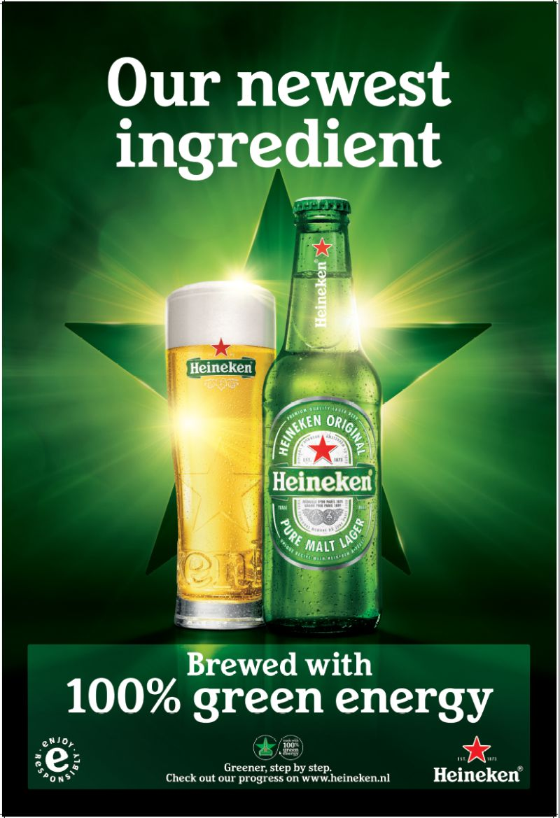 Heineken® beer has been brewed using 100% green energy