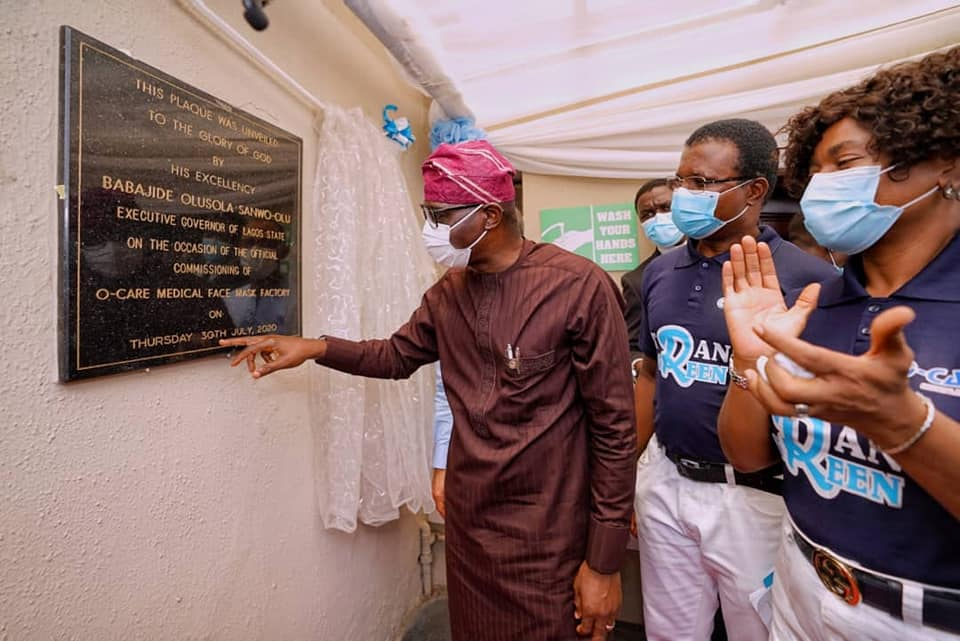 Sanwo-Olu Commissions First Indigenous Medical Face Mask Factory in Lagos - Brand Spur