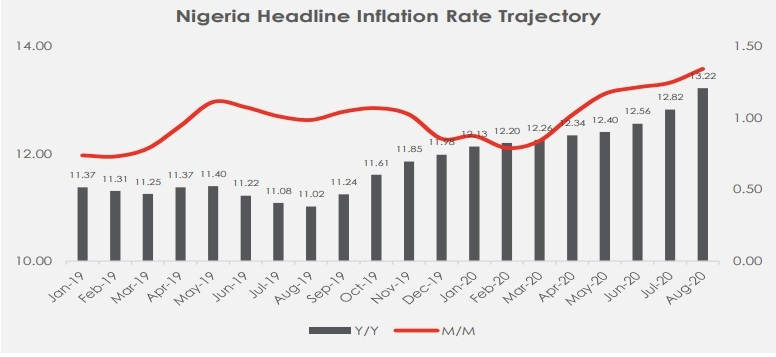 Headline inflation rate climbs to 13.2% y/y in August-2020