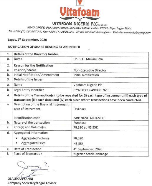 Vitafoam's Non-Executive Director buys 78,320 more shares
