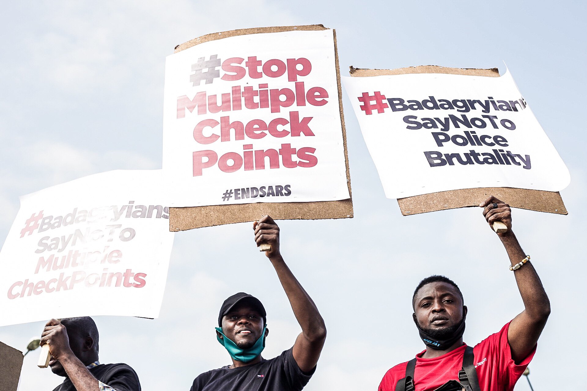 #EndSARS: Youths Protest Against Multiple Checkpoints and Police Extortion on Lagos-Badagry Expressway (Photos)