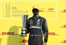 DHL presents awards to world champion Lewis Hamilton and Aston Martin Red Bull Racing for record times Brandspurng