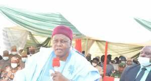 Governor Ishaku delivering his speech during the Flag off ceremony.