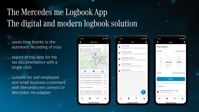 The new Mercedes me Logbook App: The digital solution that saves time when recording business trips