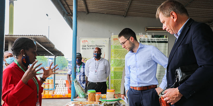 The Belgian delegation meeting with the IITA team before touring the research facilities.