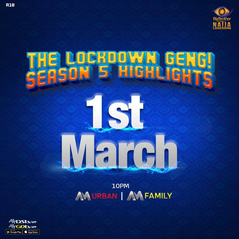 #BBNaija Lockdown Highlights Airs from March 1 on Africa Magic