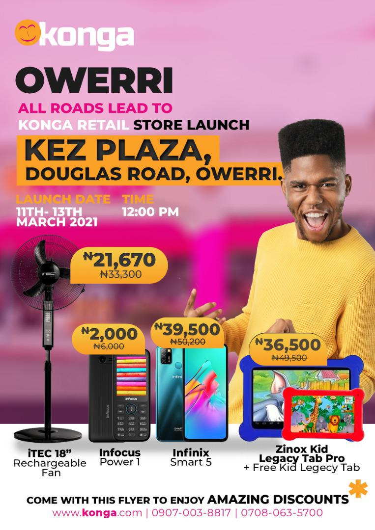 New Konga Owerri store Brandspurng Mouthwatering deals for shoppers as Konga set to launch new Owerri store